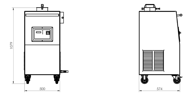 Abmessungen Benzolabsaugung IBA   ULMATEC GmbH